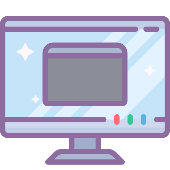 Switch Host icon. It's an icon of a computer screen that has been reduced to a small version of a computer monitor. It is a rectangle with hard corners sitting on a flat rectangle with a little rectangle in the center. Inside the bigger rectangle appears to be a three dimensional box.