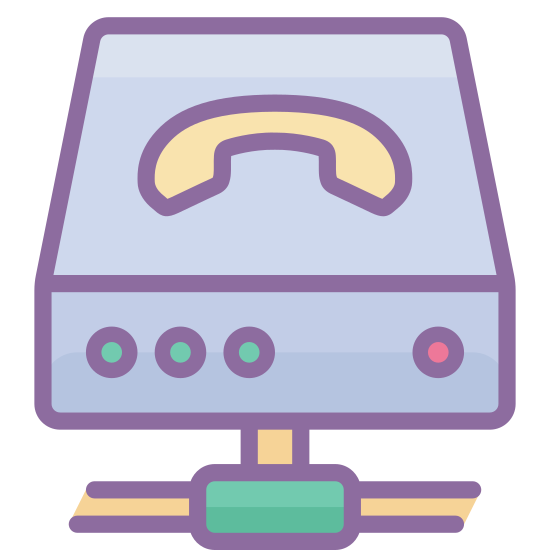 VOIP icon. It's a graphic of a router laying sideways with a picture of a phone on top of it. It has four dots on it's front face. Three of them are grouped to the left and the other is on the right. It has a symbolic wired connection coming out from underneath it.