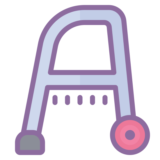 Walker icon. This icon represents a walker. It is a letter A shape but instead of one line it has two with the top one being curved slightly. The bottom has one leg with a small square and one with a rounded wheel.