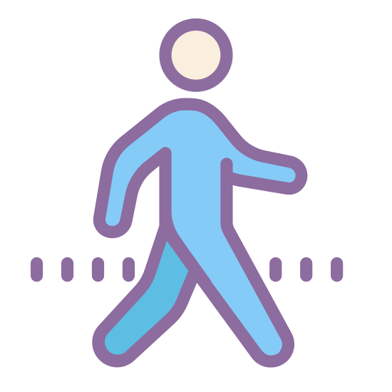 Walking icon. This icon is like a three dimension stick person. It looks like the drawing on the bathroom doors. The stick man seems to be walking away and is headed to the right of the picture.
