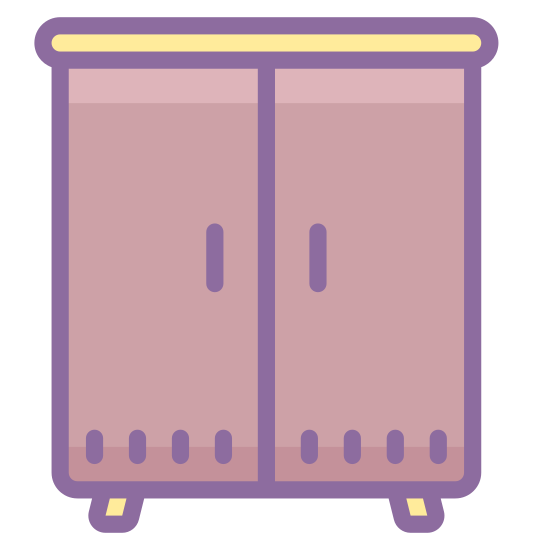 Wardrobe icon. This icon is square in shape with two doors on front. It has legs on the bottom that lift it of the floor. It would be used to store things. The icon would represent a piece of bedroom furniture.