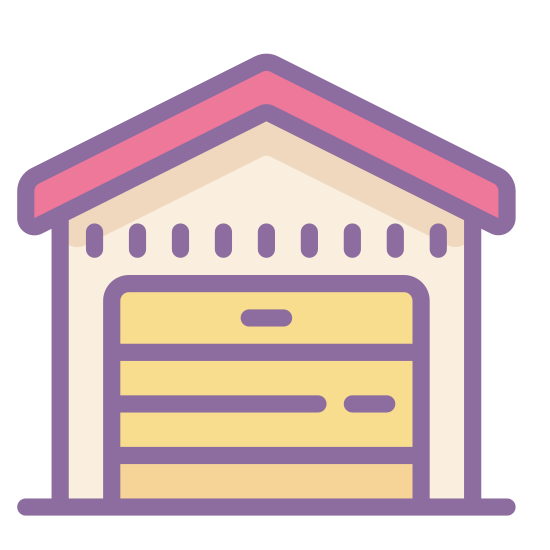 Warehouse icon. This icon is depicting a house-like structure that is segmented into four square quadrants. In each of the quadrants is a horizontal line at the top of the square. Resting on top of the unit is a triangular shaped roof.