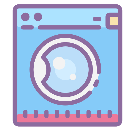 Pralka icon. The washing machine icon's main shape in a square.   It is slightly taller than wide.   In the center of this square is a circle which represents the window of a front loading machine.  Across the center of the circle is a squiggly line to show a water line.   In the upper right corner on the square are two dots.  The two dots represent two control buttons for the washer.