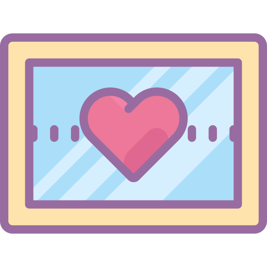 Zdjęcie ślubne icon. The wedding photo icon is shaped like a rectangle, slightly wider than tall.  Its close to a square shape, but slightly more rectangle.  Just inside the outer rectangle is another same shaped rectangle which represents the photo inside the frame.   In the center of that rectangle is a heart.