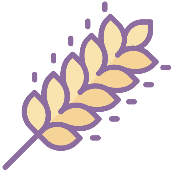Wheat icon. It's a diagonal line going up from left to right. Starting from a quarter of the way up on the line are attached petals. Each petal is shaped somewhat like a football. there are six pairs of these petals and a final petal at the top of the line