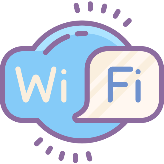 """Logo Wi-Fi icon. This is an logo displaying the word """"WiFi"""" within a cloud shaped icon. In the foreground on the right half of the cloud is a rounded square speech bubble. On the cloud shape """"Wi"""" is displayed, while """"Fi"""" rests within the speech bubble portion."""
