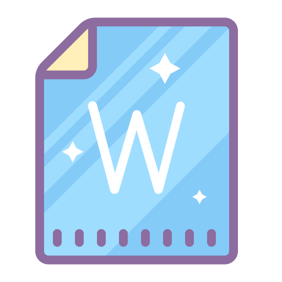 """Word icon. The icon is for a document that is stored as a file on a computer. The icon shows a sheet of paper with a folded corner with a handwritten """"W"""" displayed. The icon is describes as a word file."""