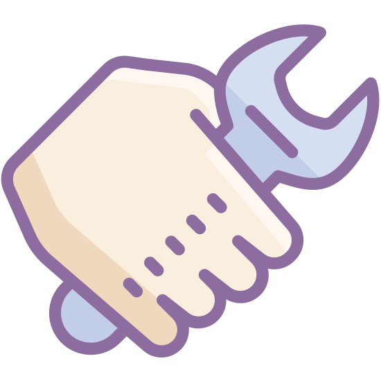 Work icon. This icon is a hand holding a wrench. We see the back of the hand with the wrench's handle oriented downward at the pinky and the opening of the wrench at the top, by the thumb.