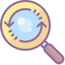 Magnifying Glass With a Refresh Sign icon