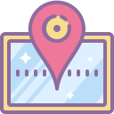 Map with a pin symbol icon