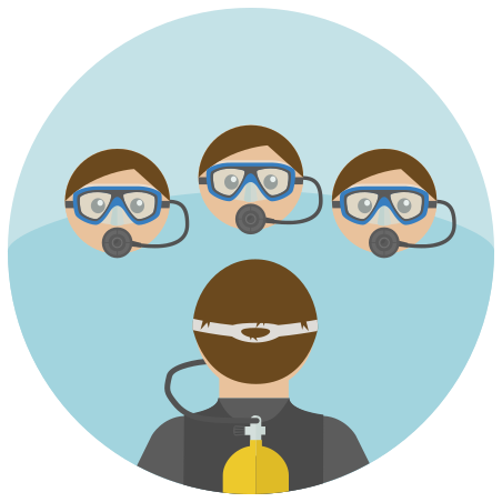 Scuba Diving Team icon in Infographic
