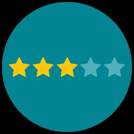 Tres de cinco estrellas icon