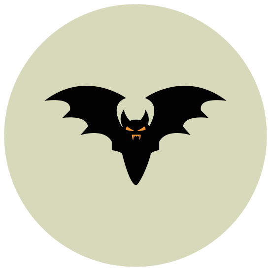 Bat icon. The Bat is a symmetric design. It has a head, a body and two wings. The wings are rounded. The bottom part of the bat has rounded lines making the wings connect to the bottom.
