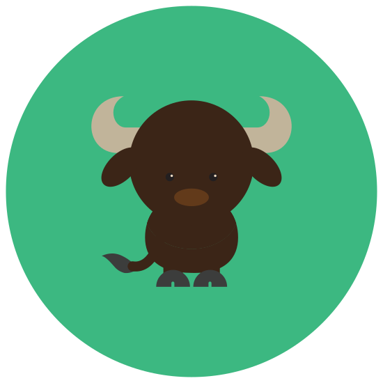 Bull icon. This icon is a bull.  The head is half an oval on top, very wide, the bottom of the head is narrow and curved in.  The bull's nose has a circular ring going through the nostrils.  On the top of the head are horns on each side.  They resemble crescent moons, each facing in toward the head.  Below each horn is a leaf shaped ear.
