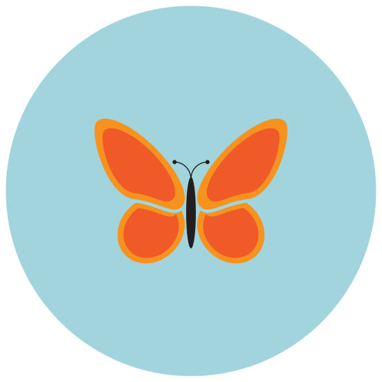 Butterfly icon. It is an insect called a butterfly. It has 2 wings with large tops on the wings and small parts of wings at the bottom. The wings are connected onto the body in the center.