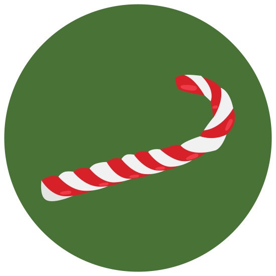 Candy Cane icon. A candy cane, the universal sign for christmas. This one is in black and white, and has been opened, judging by the lack of wrapping paper. However, it hasn't been licked yet, as none of the lines have faded.