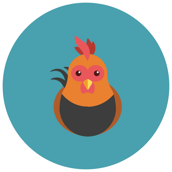 Chicken icon. A plump, feathered animal sits on tiny feet. There is a small crown of feathers on his head as he perches in a stationary pose. This chicken would be categorized under animal icons.
