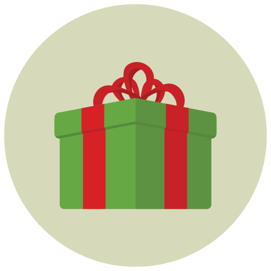 Presente de Natal icon. It is a square gift icon. There are two horizontal lines and two vertical lines across the respective middle representing a bow. On top, in the middle, there is a small square, representing a knot, and two curves, on the left and the right on this knot, representing the curves of the bow on the gift.