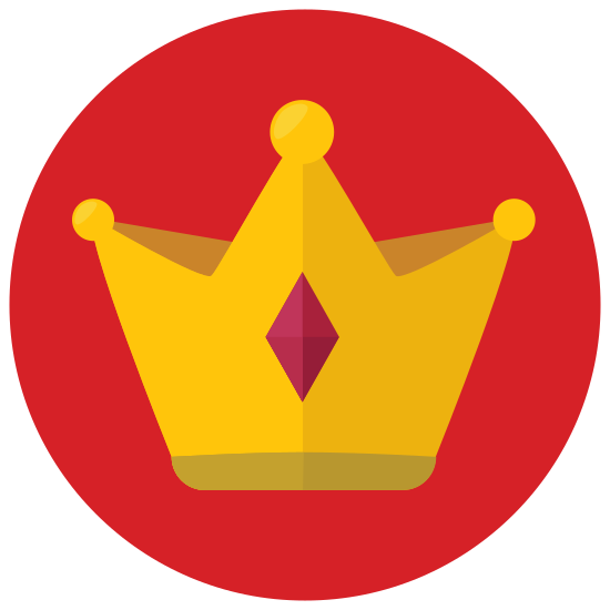 Crown icon. This logo depicts a crown. It has a small wide rectangle on the bottom with a three-pointed triangle on top of it. There is a circle at the point of each triangle.