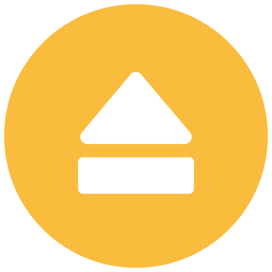 Eject icon. This is a picture of an eject button's logo. It has a large triangle on top, a long rectangular shaped line on bottom, with a small space in between the two. It is pointing upwards.