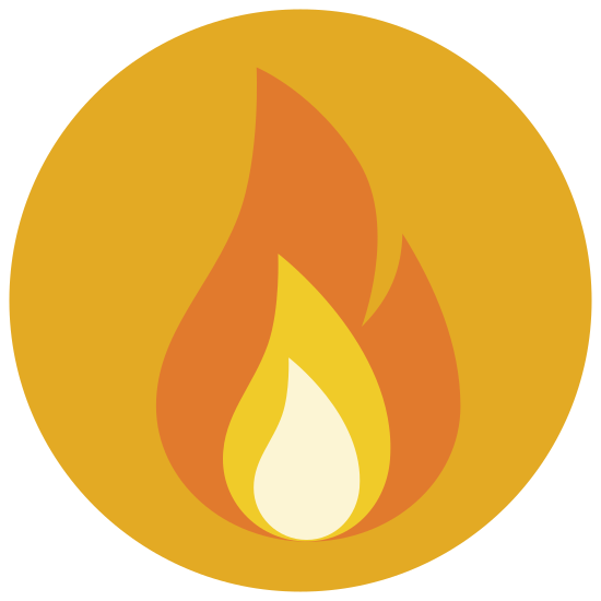 Fire icon. The icon is a logo of Fire Element. It is shaped like a single flame, like one produced from a gas.