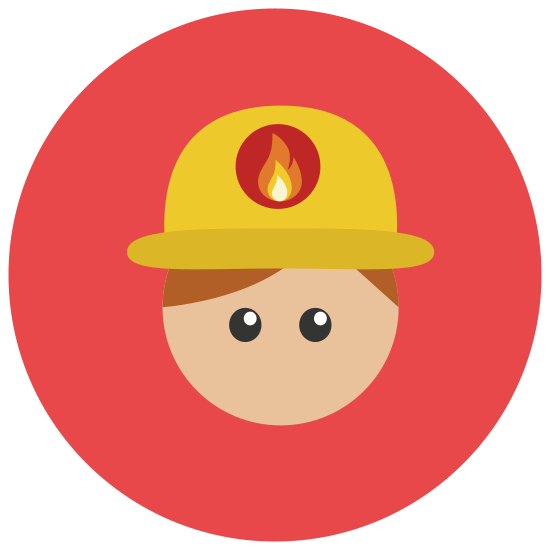 消防士男性 icon. This is an image of a firefighter. The firefighter has no physical characteristics on it, it has a blank face. The firefighter is wearing a helmet on top of its head with a small badge in the center of the helmet.