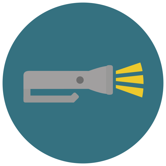 Flash Light icon. The object is a flashlight with on button on the handle. There are two parts. The cylindrical handle with the button and the cone for focusing light. The cone is wider than the cylinder and attaches to the cylinder just above the button.