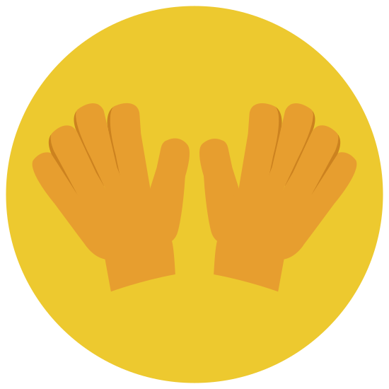 Garden Gloves icon. The garden glove icon is a hand with closed fingers and an extended thumb. There is a flower with a black dot in the middle of the palm of the hand.