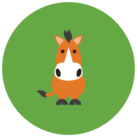 Horse icon. This icon represents a horse. The shape has a head with a mane of hair rounding down into a straight back into a tail. From the tail with hair, it goes down into four separate legs and rounds back up to the head.