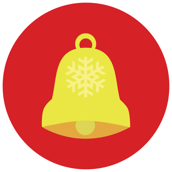 Sino natalino icon. Its a jingle bell with a bow on top. It has ball that dangles inside, which causes the bell to make a noise.