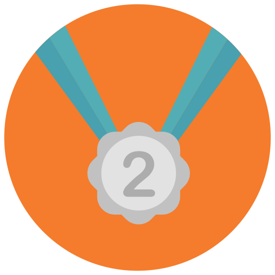 "Medal Second Place icon. This is a picture of an award medal for number two or second place. it has a circular shape with the number ""2"" in the center. there are dashed lines all around the inside perimeter and a neck strap coming from the top of it"