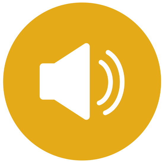 Voice icon. The main part of the logo is made of two connected shapes. On the left is a triangle with slightly rounded corners, and connected to it is a triangle facing left but cut in half so that the two shapes together look like a speaker facing to the right. Two semi circular lines are coming out of the speaker and represent sound waves.