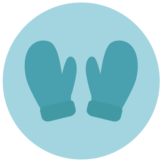 Mittens icon. It is one mitten, with a one piece of fabric covering the hand, and the thumb is by itself.
