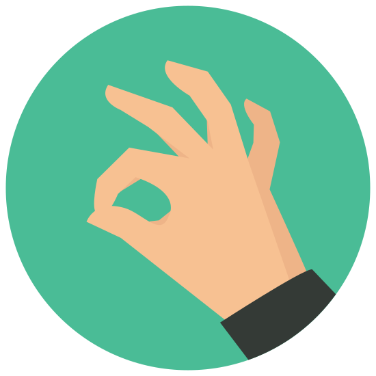 "OK ręka icon. This is a picture of a right hand giving the ""okay"" symbol with it's thumb and index finger. the other three fingers are sticking up but curved. the index finger and thumb are forming a circle"