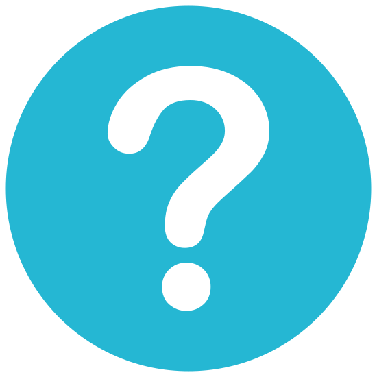 Question Mark icon. A question mark is depicted. There is a curvy line that starts at the top left, flows clockwise about 270 degrees, then curves sharply downward and ends. Below this ending of the line is a dot.