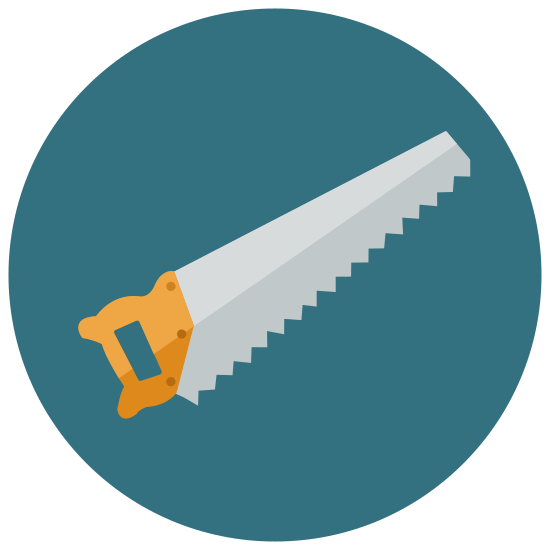 Saw icon. The icon for a saw is a handheld, manual saw that is often used for smaller woodworking projects. The saw has a handle and jagged edges on the bottom of the metal that tapers into a smaller blunt point.