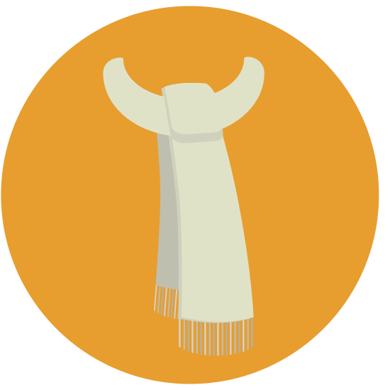Scarf icon. A scarf, wrapped in a circle around nothing. The bottom of the scarf has two pieces that are sewn together shortly before the scarf wraps around. The opposite end is hidden underneath the fabric.