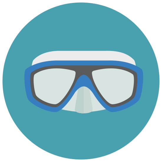 Scuba Mask icon. It's a logo of a scuba mask on top of a nose and a breathing apparatus. The mask is a longer rectangle with curved edges and a long bottom than top with a triangular section cut out of the bottom middle and a nose coming out there. Below the nose is a circle with a dot inside and a line extending to the right.