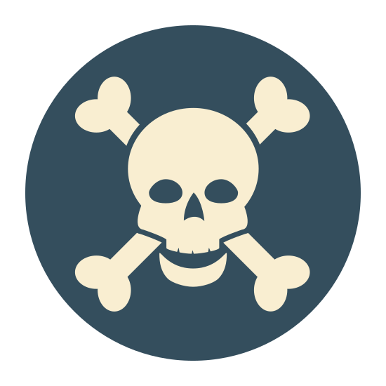 Skull Crossbones icon. This is an image of a circle. Inside of the circle is a skull and crossbones figure. The skull and crossbones figure contains two eye cavities and a nose cavity.