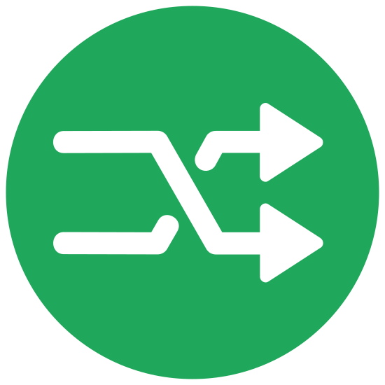 Shuffle icon. It's a very common symbol used to symbolize when you want to shuffle through a few items. It has two arrows which start at both the bottom and top, interwine in the middle and then end at the opposite place (top/bottom). Both arrows point to the right.
