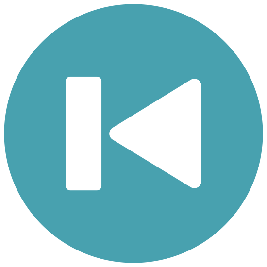 Skip to Start icon. The icon shows a button that would toggle a video player. It has a arrow shaped play symbol that is pointing to the left and is up against a bar, that would indicate skip to start or rewind.