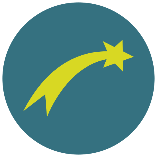 Star of Bethlehem icon. This is a logo of a regular five pointed star in the upper right with a tail coming out of the lower left side of the star. The tail is wide and ends in three points and is longer than the star and goes to the bottom left.