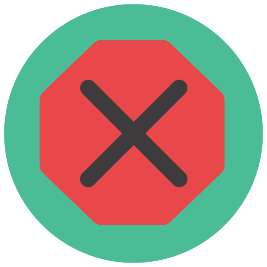 Stop Sign icon. It is a hexagon with rounded corners. Large rounded letters that say S T O P are centered both vertically and horizontally, putting them in the exact center of the hexagon.