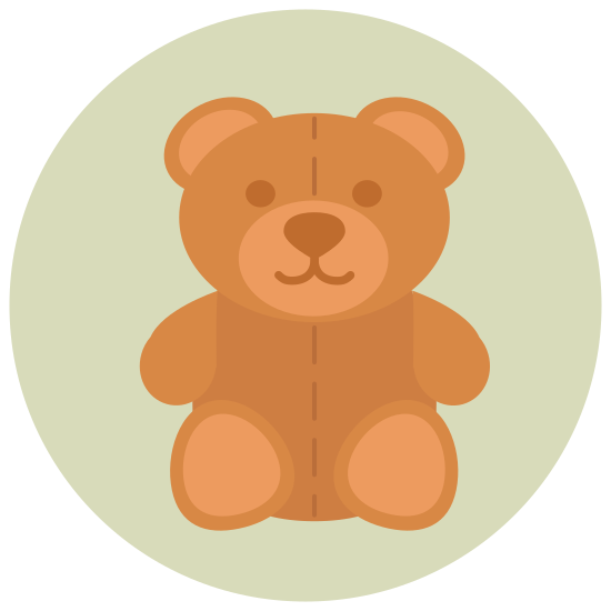 Miś icon. Ths image is of a childs toy stuffed bear. The face is looking straight at the viewer. It is in a sitting position, and has two arms and two legs but no hands or feet. Its face consists of eyes and a snout with a nose but no mouth. There are two round ears protruding from the top of the head.
