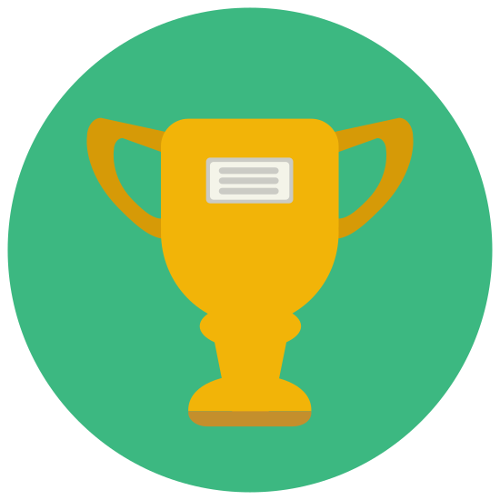 Trophy icon. It's a goblet-like object with two handles (one on each side) and a small base. The number 1 is bold and centered on it. The main part of the trophy itself is shaped like the lower half of an elongated egg.