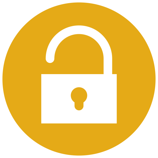 Odblokuj icon. This icon looks just like a padlock. The base of the lock is a square with slightly rounded edges. There is a circular shape in the center that looks just like where you would place a key. The hasp of the lock is on top and is simply a half circle tilted slightly to the left to indicate the lock is open.