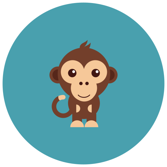 Monkey icon. This shape looks like a human head at first. A circle with two bumps on each side for the ears. It has two curved lines coming out of the top. In the middle is what looks like a circle except with 3 curved sides and then two dots in the middle of that.