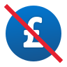 No Hidden Fee British Pound icon