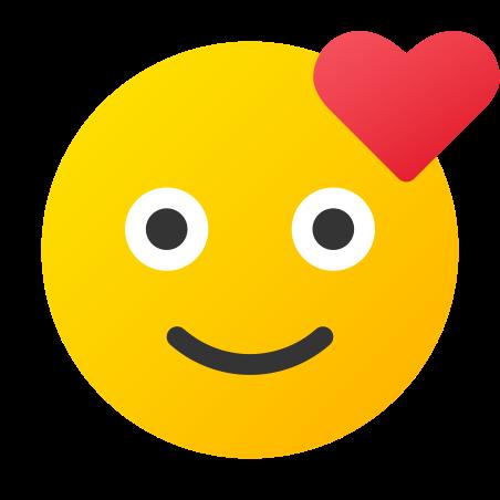 Visage souriant avec coeur icon