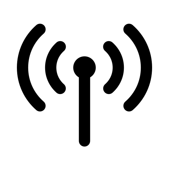 Cellular Network icon. This icon is for cellular network service. In the center, it has a straight vertical line with a small circle on the top of it, indicating an antenna. There's one small, unclosed circle around the top of it, then a larger circle around that one.